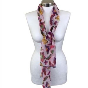 VINTAGE MULTICOLORED BUTTERFLY LONG SCARF
